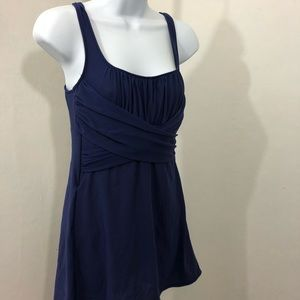 Navy blue skirted lands end swimsuit. Size m